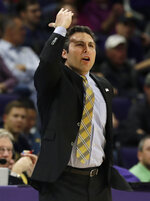FILE - In this Nov. 28, 2018, file photo, Georgia Tech head coach Josh Pastner reacts as he watches his team during the first half of an NCAA college basketball game against Northwestern in Evanston, Ill. Georgia Tech and Georgia State announced Wednesday, May 13, 2020, that the city rivals will play a three-game men's basketball series beginning in December, their first match-up during the regular season since 2008. The Atlanta schools are only about three miles apart. (AP Photo/Nam Y. Huh, File)