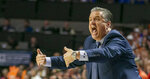 Kentucky head coach John Calipari screams at players after Florida scored during the first half of an NCAA college basketball game Saturday, March 7, 2020, in Gainesville, Fla. (AP Photo/Alan Youngblood)