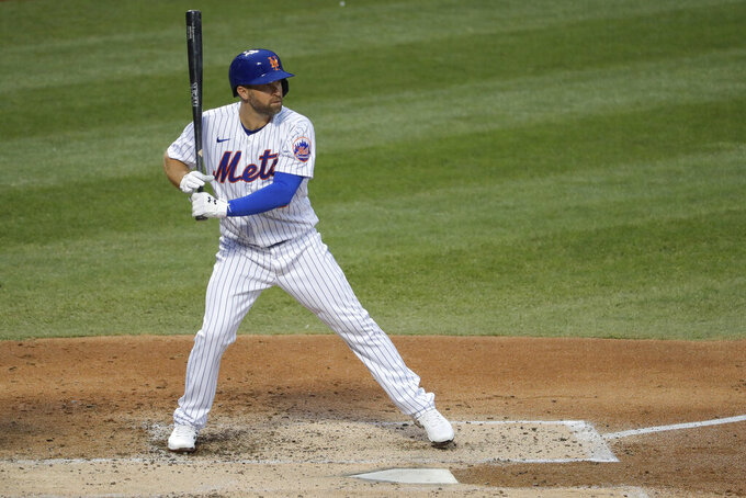 New York Mets' Brian Dozier gets ready for a pitch during the second inning of the baseball game against the Boston Red Sox at Citi Field, Thursday, July 30, 2020, in New York. (AP Photo/Seth Wenig)