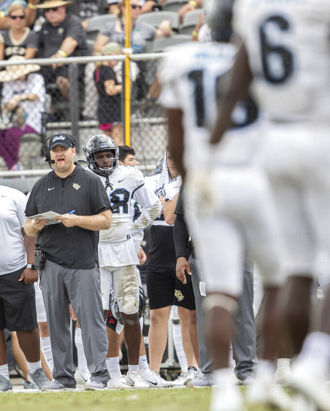 Central Florida head coach Josh Heupel encourages his players during an NCAA college football game against Houston in Orlando, Fla., Saturday, Nov. 2, 2019. Central Florida won 44-29. (Photo/Willie J. Allen Jr.)