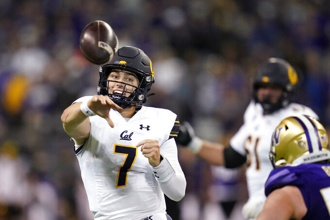 California quarterback Chase Garbers throws against Washington in the second half of an NCAA college football game Saturday, Sept. 25, 2021, in Seattle. (AP Photo/Elaine Thompson)