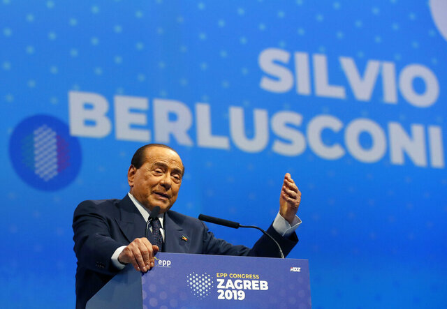 FILE - In this Nov. 21, 2019 file photo, Silvio Berlusconi, Italian former Premier and President of Forza Italia (Go Italy) party speaks during the European Peoples Party (EPP) congress in Zagreb, Croatia. Sen. Lucia Ronzulli, who is a top aide to Silvio Berlusconi told RAI state TV Friday, Sept. 4, 2020, that the former premier was admitted to a Milan hospital early Friday as a precaution to monitor his coronavirus infection after testing positive for COVID-19 earlier in the week. (AP Photo/Darko Vojinovic, file)