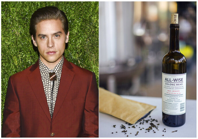 This combination photo shows actor and entrepreneur Dylan Sprouse at the 15th annual CFDA / Vogue Fashion Fund event at  in New York on Nov. 5, 2018, left, and a bottle of his All-Wise Oolong Mead. Celebrities are deep into the liquor and wine business with their own brands that are particularly gifty for drink-loving fans. (AP Photo, left, and All-Wise Meadery via AP)