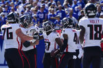 Atlanta Falcons wide receiver Olamide Zaccheaus (17) celebrates after scoring a touchdown during the first half of an NFL football game against the New York Giants, Sunday, Sept. 26, 2021, in East Rutherford, N.J. (AP Photo/Seth Wenig)