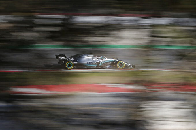 Mercedes driver Lewis Hamilton of Britain drives during a Formula One pre-season testing session at the Barcelona Catalunya racetrack in Montmelo, outside Barcelona, Spain, Wednesday, Feb. 27, 2019. (AP Photo/Joan Monfort)
