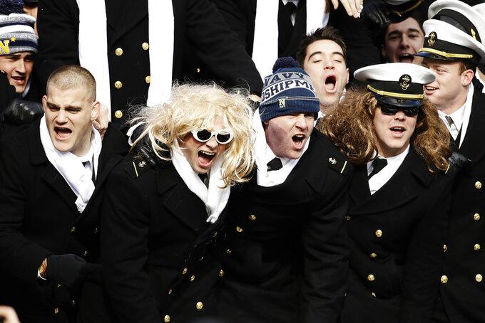 Navy midshipmen cheer ahead of an NCAA college football against Army, Saturday, Dec. 8, 2018, in Philadelphia,. (AP Photo/Matt Rourke)