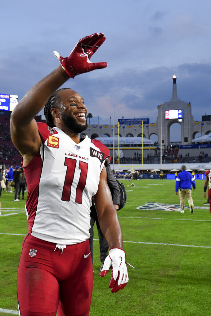 Arizona Cardinals wide receiver Larry Fitzgerald leaves the field after their loss against the Los Angeles Rams in an NFL football game Sunday, Dec. 29, 2019, in Los Angeles. (AP Photo/Mark J. Terrill)