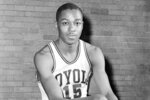 FILE - This is a Feb. 20, 1963, file photo showing Loyola University basketball player Jerry Harkness. Harkness, who led Loyola Chicago to a barrier-breaking national basketball championship and a was civil rights pioneer, has died. He was 81. The school announced Harkness passed away Tuesday morning, Aug. 24, 2021. (AP Photo/Paul Cannon, File)