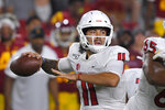 Fresno State quarterback Jorge Reyna passes during the first half of an NCAA college football game against Southern California Saturday, Aug. 31, 2019, in Los Angeles. (AP Photo/Mark J. Terrill)
