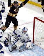 Boston Bruins center Noel Acciari (55) celebrates his goal against Tampa Bay Lightning goaltender Louis Domingue (70) in the third period of an NHL hockey game, Thursday, Feb. 28, 2019, in Boston. (AP Photo/Elise Amendola)