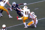 Wyoming placekicker John Hoyland (46) scores against Nevada during the first half of an NCAA college football game on Saturday, Oct. 24, 2020, in Reno, Nev. (AP Photo/Lance Iversen)