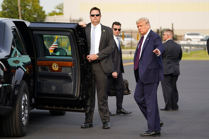President Donald Trump arrives at Philadelphia International Airport to attend an ABC News town hall at National Constitution Center, Tuesday, Sept. 15, 2020, in Philadelphia. (AP Photo/Evan Vucci)