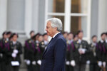 Belgian Foreign Minister Didier Reynders waits for the arrival of Democratic Republic of Congo President Felix Tshisekedi during a ceremony at the Egmont Palace in Brussels, Tuesday, Sept. 17, 2019. (AP Photo/Virginia Mayo)