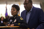 Dallas Police Chief U. Renee Hall and State Senator Royce West listen as people ask questions regarding Botham Shem Jean following an African American Leadership summit on Saturday, Sept. 8, 2018 at Paul Quinn College in Dallas. Jean was shot by a Dallas police officer in his home on Thursday night. (Shaban Athuman/The Dallas Morning News via AP)