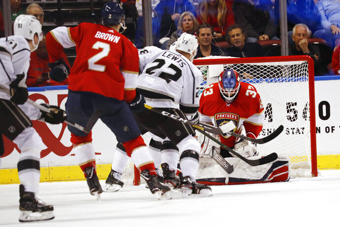 Florida Panthers goaltender Sam Montembeault (33) makes a save against the Los Angeles Kings during the second period of an NHL hockey game Thursday, Jan. 16, 2020, in Sunrise, Fla. (AP Photo/Brynn Anderson)