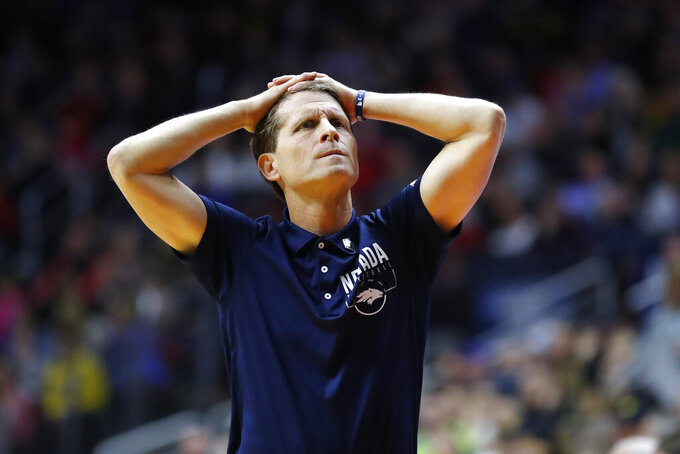 Nevada head coach Eric Musselman reacts to a call against his team during a first round men's college basketball game against Florida in the NCAA Tournament, Thursday, March 21, 2019, in Des Moines, Iowa. (AP Photo/Charlie Neibergall)