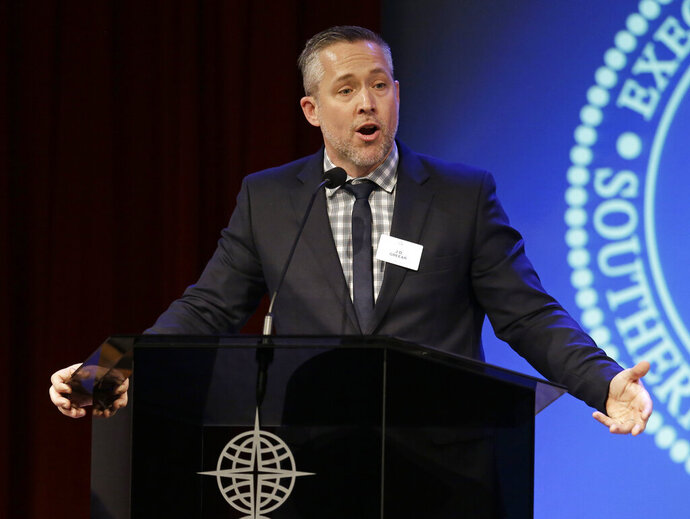 Southern Baptist Convention President J.D. Greear speaks to the denomination's executive committee Monday, Feb. 18, 2019, in Nashville, Tenn. Days after a newspaper investigation revealed hundreds of sexual abuse cases by Southern Baptist ministers and lay leaders over the past two decades, Greear spoke about plans to address the problem. (AP Photo/Mark Humphrey)