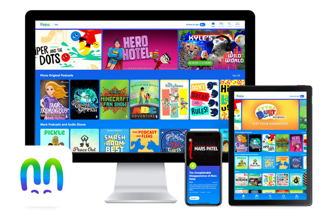 This product image released by Pinna shows the Pinna app displayed on a computer, mobile phone and tablet. The on-demand streaming service offers podcast, audiobook and music compilations for kids. (Pinna via AP)