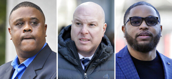 FILE — This file combo of images shows, from left, amateur basketball league director Merl Code, former Adidas executive James Gatto, and business manager Christian Dawkins. A federal appeals court in New York, Friday, Jan. 15, 2020, upheld convictions Code, Gatto and Dawkins in a college basketball scandal that spoiled the careers of several coaches. (AP Photo/File)