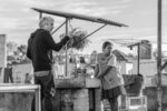 This image released by Netflix shows filmmaker Alfonso Cuaron on the set of