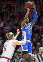 UCLA guard Chris Smith (5) takes a jumpshot in the first half of an NCAA college basketball game against Utah, Saturday, March 9, 2019, in Salt Lake City. (AP Photo/Tyler Tate)