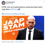 This image from the Twitter account of FC Cincinnati shows a tweet, Thursday, May 21, 2020, from MLS soccer team FC Cincinnati that shows new head coach Jaap Stam. An earlier tweet from FC Cincinnati to introduce Stam mistakenly showed Ajax youth coach Tinus van Teunenbroek. (Twitter via AP)