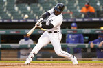 Detroit Tigers' Akil Baddoo hits a one-run single against the Kansas City Royals in the fourth inning of a baseball game in Detroit, Tuesday, May 11, 2021. (AP Photo/Paul Sancya)