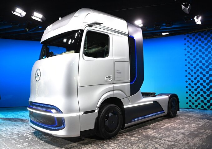 A prototype of a truck for future electric technology strategy of the Daimler Trucks company is presented during a news conference in Berlin, Germany, Sept. 20, 2020. Daimler Truck AG unveils plans for hydrogen and battery trucks in a zero-emissions, software-driven future. (Britta Pedersen/dpa via AP)