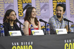 Dafne Keen, from left, Ruth Wilson and Lin-Manuel Miranda participate in the