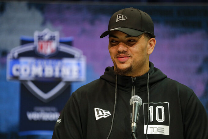 LSU tight end Thaddeus Moss speaks during a press conference at the NFL football scouting combine in Indianapolis, Tuesday, Feb. 25, 2020. (AP Photo/Michael Conroy)