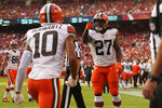 Cleveland Browns running back Kareem Hunt (27) celebrates after scoring during the second half of an NFL football game against the Kansas City Chiefs Sunday, Sept. 12, 2021, in Kansas City, Mo. (AP Photo/Charlie Riedel)