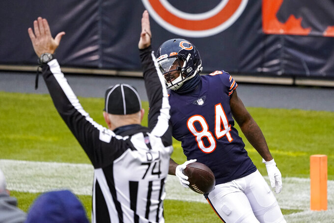 Chicago Bears wide receiver Cordarrelle Patterson (84) scores a touchdown on a run against the Detroit Lions in the first half of an NFL football game in Chicago, Sunday, Dec. 6, 2020. (AP Photo/Charles Rex Arbogast)