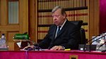 In this image taken from video on Wednesday, Sept, 11, 2019. Lord Carloway, Scotland's most senior judge: speaks at a court in Edinburgh, Scotland. The Scottish court ruled that Britains Prime Minister Boris Johnson's decision to suspend the U.K. Parliament was unlawful, but did not order the suspension overturned. Judges said Britain's Supreme Court must make the final decision. (UK Pool/Sky News via AP)