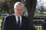 FILE - In this March 24, 2019 photo, then-special counsel Robert Mueller walks past the White House, after attending St. John's Episcopal Church for morning services, in Washington. Mueller will testify publicly before House panels on July 17 after being subpoenaed. (AP Photo/Cliff Owen, File)