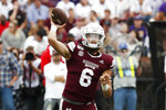 Mississippi State quarterback Garrett Shrader (6) passes against LSU during the first half of their NCAA college football game in Starkville, Miss., Saturday, Oct. 19, 2019. (AP Photo/Rogelio V. Solis)