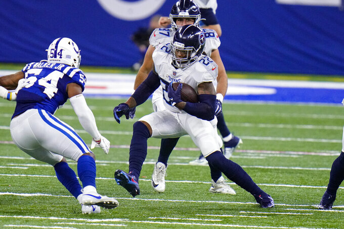Tennessee Titans running back Derrick Henry (22) cuts aways from Indianapolis Colts middle linebacker Anthony Walker (54) in the first half of an NFL football game in Indianapolis, Sunday, Nov. 29, 2020. (AP Photo/AJ Mast)