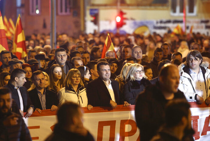 Zoran Zaev, center, the leader of the ruling Social Democrats, takes a part in a rally titled