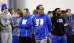 Duke football coach David Cutcliffe watches players during Pro Day in Durham, N.C., Tuesday, March 26, 2019. (AP Photo/Gerry Broome)