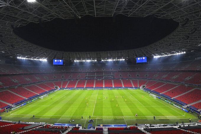 A general view of the Champions League group G soccer match between Ferencvaros and Barcelona in the Puskas Arena in Budapest, Hungary, Wednesday, Dec. 2, 2020. (Tibor Illyes/MTI via AP)