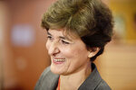 European Commissioner designate for Internal Market Sylvie Goulard waits for the start of her hearing at the European Parliament in Brussels, Thursday, Oct 10, 2019. (AP Photo/Olivier Matthys)
