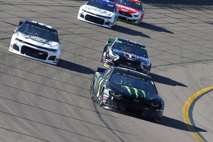 Kurt Busch (1) drives during the NASCAR Cup Series auto race at ISM Raceway, Sunday, Nov. 10, 2019, in Avondale, Ariz. (AP Photo/Ralph Freso)