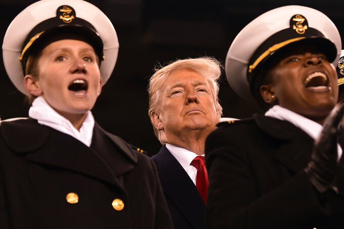 President Donald Trump attends the Army-Navy football game in Philadelphia, Saturday, Dec. 8, 2018. (AP Photo/Susan Walsh)