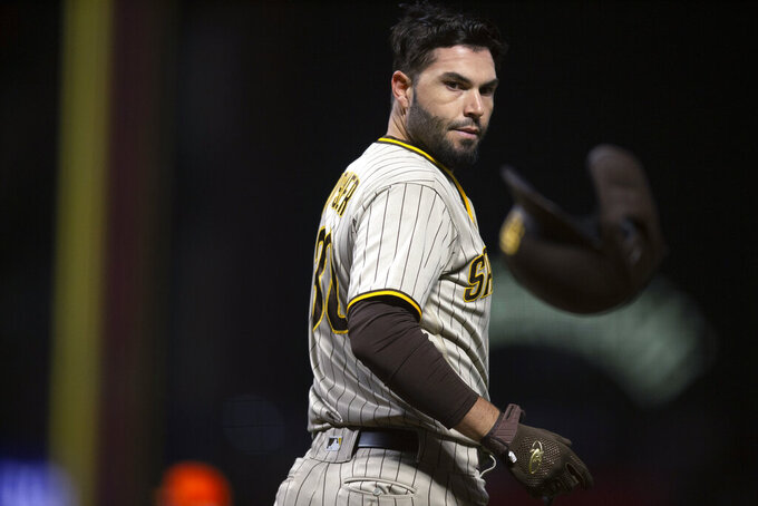 San Diego Padres' Eric Hosmer tosses his batting helmet after striking out to end the top of the sixth inning of the team's baseball game against the San Francisco Giants, Tuesday, Sept. 14, 2021, in San Francisco. (AP Photo/D. Ross Cameron)