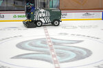 The ice is cleaned and resurfaced at the Seattle Kraken's practice rink, Thursday, Sept. 9, 2021, during a media event for the grand opening of the NHL hockey club's practice and community facility in Seattle. (AP Photo/Ted S. Warren)