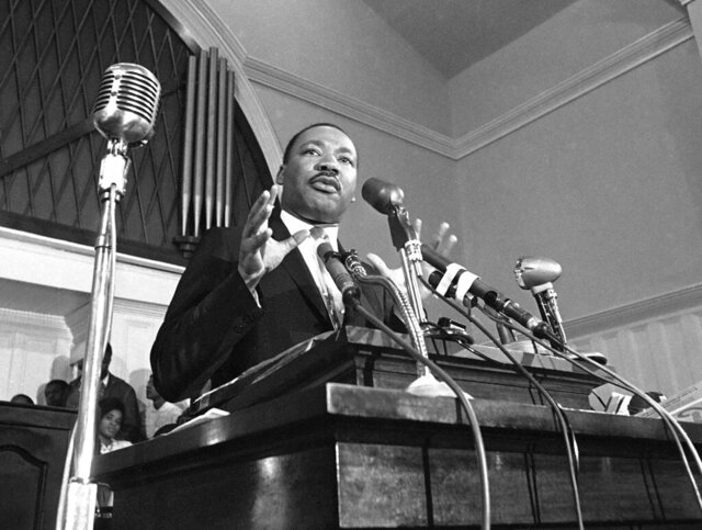 FILE - In this 1960 file photo, Martin Luther King Jr. speaks in Atlanta. The civil rights leader had carried the banner for the causes of social justice — organizing protests, leading marches and making powerful speeches exposing the scourges of segregation, poverty and racism. Following the publication of