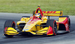 Ryan Hunter-Reay races his car during the IndyCar Series auto race, Sunday, July 28, 2019, at Mid-Ohio Sports Car Course in Lexington, OH. (AP Photo/Tom E. Puskar)
