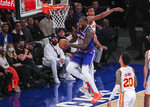 New York Knicks forward Julius Randle (30) drives to the basket in the third quarter against the Atlanta Hawks during Game 5 of an NBA basketball first-round playoff series Wednesday, June 2, 2021, in New York. (Wendell Cruz/Pool Photo via AP)