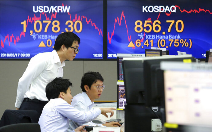 Currency traders watch monitors at the foreign exchange dealing room of the KEB Hana Bank headquarters in Seoul, South Korea, Thursday, May 17, 2018. Asian stocks were mixed on Thursday after strong factory data from the U.S. helped spur gains overnight on Wall Street.(AP Photo/Ahn Young-joon)