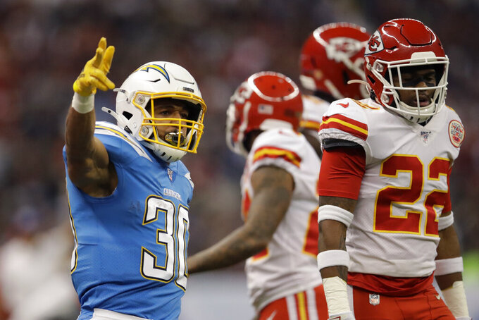 Los Angeles Chargers running back Austin Ekeler reacts during the first half of an NFL football game against the Kansas City Chiefs Monday, Nov. 18, 2019, in Mexico City. (AP Photo/Marcio Jose Sanchez)
