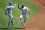 Texas Rangers' Todd Frazier, left, celebrates with Isiah Kiner-Falefa after hitting a home run against the Oakland Athletics in the sixth inning of a baseball game Thursday, Aug. 6, 2020, in Oakland, Calif. (AP Photo/Ben Margot)